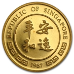 Singapore 1987 1 oz Gold 100 Singold Proof Rabbit
