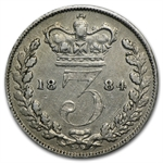 Great Britain 1884 Silver 3 Pence Victoria VF/EF