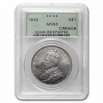 Canada 1936 Silver Dollar King George V PCGS MS-63