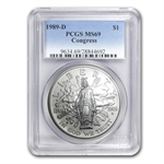 1989-D Congress Bicentennial $1 Silver Commemorative - MS-69 PCGS