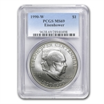 1990-W Eisenhower Centennial $1 Silver Commemorative - MS-69 PCGS