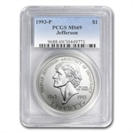1993-P Jefferson 250th Anniversary $1 Silver Commem - MS-69 PCGS