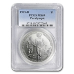 1995-D Olympic Blind Runner $1 Silver Commemorative - MS-69 PCGS