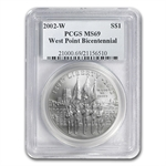 2002-W West Point Bicentennial $1 Silver Commem - MS-69 PCGS