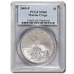 2005-P Marine Corps 230th Anniv. $1 Silver Commem MS-69 PCGS