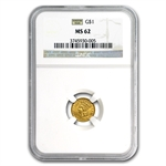 $1 Indian Head Gold - Type 3 - MS-62 NGC or PCGS