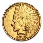 1908-D $10 Indian Gold Eagle - No Motto - Extra Fine