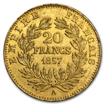 France 20 Francs Gold Napoleon III Random Dates (AU or Better)
