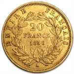 France 20 Francs Gold Napoleon III Random Dates (EF or Better)