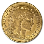 France Gold 10 Francs Roosters AGW .0933