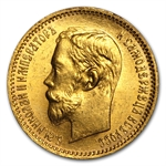 Russia 1902 5 Roubles Gold Coin Brilliant Uncirculated