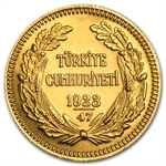 Turkey 1923 100 Kurush Gold Coin (Average Circulated)