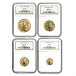2006 4-Coin Gold American Eagle Set MS-70 NGC