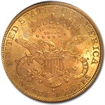 1889-S $20 Gold Liberty Double Eagle - MS-62 PCGS