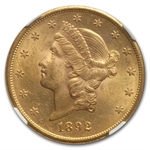 1892-S $20 Gold Liberty Double Eagle - MS-62 NGC