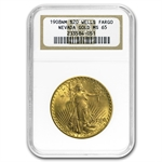 1908 $20 St. Gaudens Gold - No Motto - MS-65 NGC (Wells Fargo)