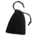 3 x 4 Velour Draw String Pouch - (Black)