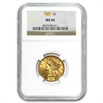 $5 Liberty Gold Half Eagle - MS-64 NGC