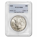 1925 Peace Dollar MS-66 PCGS