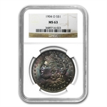 1904-O Morgan Dollar MS-63 NGC - Beautiful Obverse Toning