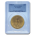 1908-D $20 St. Gaudens Gold - No Motto - MS-64 PCGS