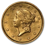 1852 $1 Liberty Head Gold - Almost Uncirculated-58 NGC