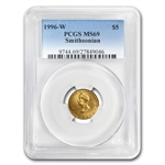 1996-W Smithsonian Anniversary - $5 Gold Commem - MS-69 PCGS