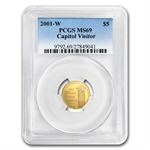 2001-W Capitol Visitor Center - $5 Gold Commem - MS-69 PCGS