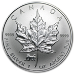 1998 1 oz Silver Canadian Maple Leaf - Lunar TIGER Privy