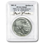 2001-D Buffalo Jay W. Johnson $1 Silver Commem MS-69 PCGS