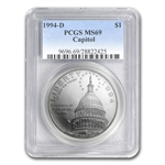 1994-D Capitol $1 Silver Commemorative - MS-69 PCGS