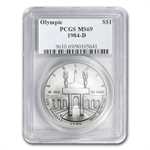 1984-D Olympic $1 Silver Commemorative - MS-69 PCGS