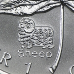 2003 1 oz Silver Canadian Maple Leaf - Lunar SHEEP Privy