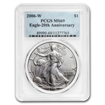 2006-W (Burnished) Silver American Eagle MS-69 PCGS 20th Anniv