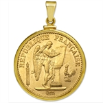 14K Gold Screw-Top Plain Coin Bezel for French 20 Franc Angel
