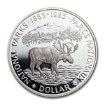 Canada 1985 Proof Silver 1 Dollar - National Parks (Moose)