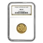 Switzerland 1901 - 1935 20 Francs Gold NGC MS 63