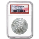 2002 Silver American Eagle - MS-69 NGC - American Flag Label
