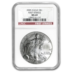 2005 Silver American Eagle - MS-69 NGC - First Strike