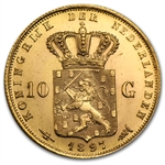 Netherlands 1897 10 Gulden Gold AU or Better