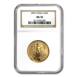 2007 4-Coin Gold American Eagle Set MS-70 NGC