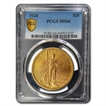 1928 $20 St. Gaudens Gold Double Eagle - MS-66 PCGS