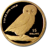 2006 1/10 oz Proof Gold Tuvalu Wise Owl Coin