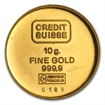 10 gram Credit Suisse Gold Round .9999 Fine (Virgin Islands)