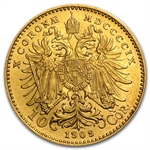 Austria 1909 Gold 10 Corona (EF or Better)