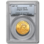 2007-W 1/2 oz Gold Abigail Adams MS-70 PCGS