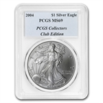 2004 Silver American Eagle - MS-69 PCGS - Collectors Club Holder