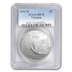 1994-W Vietnam Veterans Memorial $1 Silver Commem - MS-70 PCGS