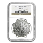 2007-P Jamestown 400th Anniv. $1 Silver Commemorative MS-70 NGC