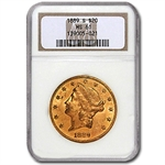 1889-S $20 Gold Liberty Double Eagle - MS-61 NGC